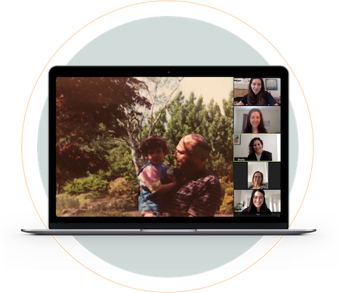 virtual memorial service on laptop screen